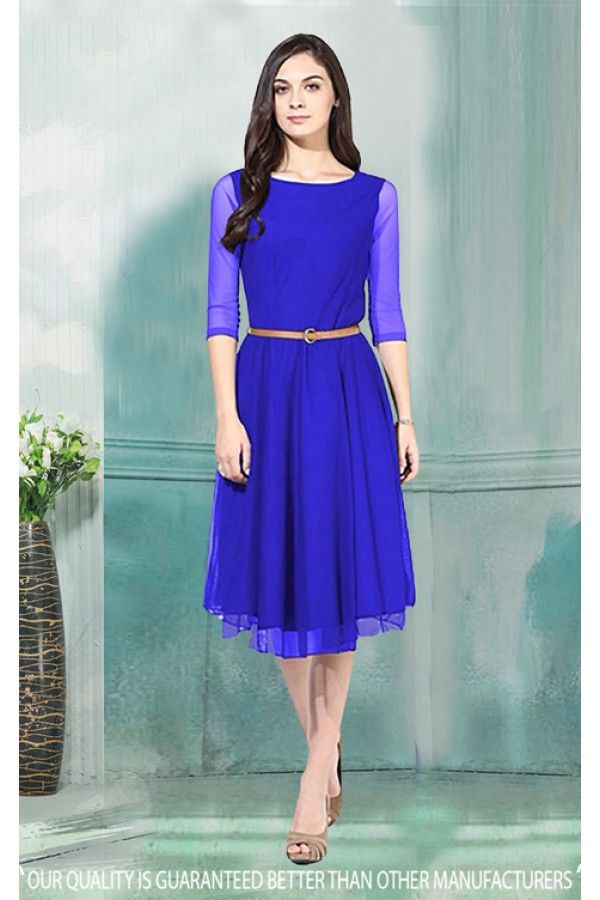 f6c12ce6fd Royal Blue Readymade Western Wear Dress - 30033 | Storeadda.com ...