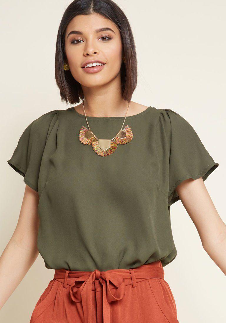 1d8330e4fbb03 Pleasing Breeze Flutter Sleeve Top in Olive