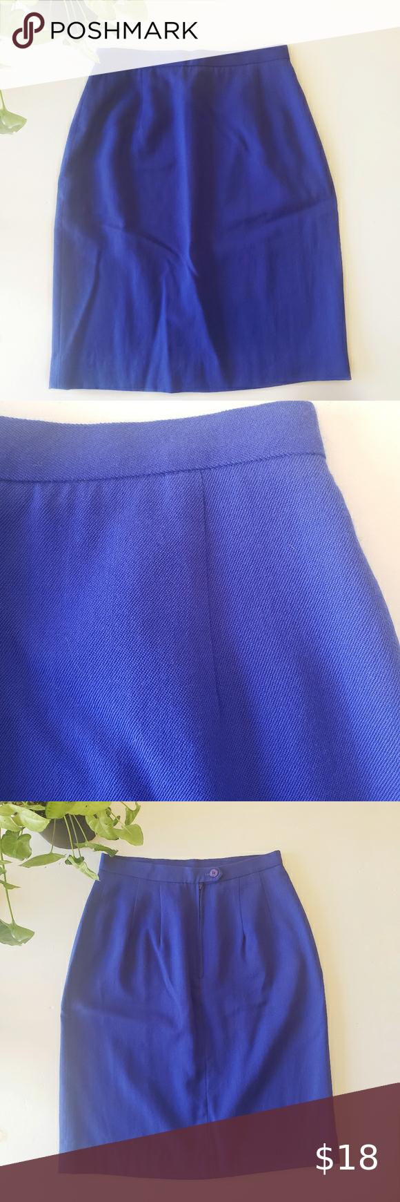 Vintage 90/'s Blue Wool Skirt