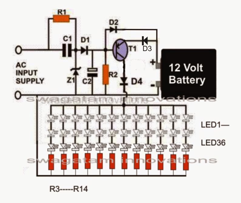 Smd Led Based Emergency Lamp Circuit Homemade Circuit Projects Circuit Projects Circuit Led Emergency Lights