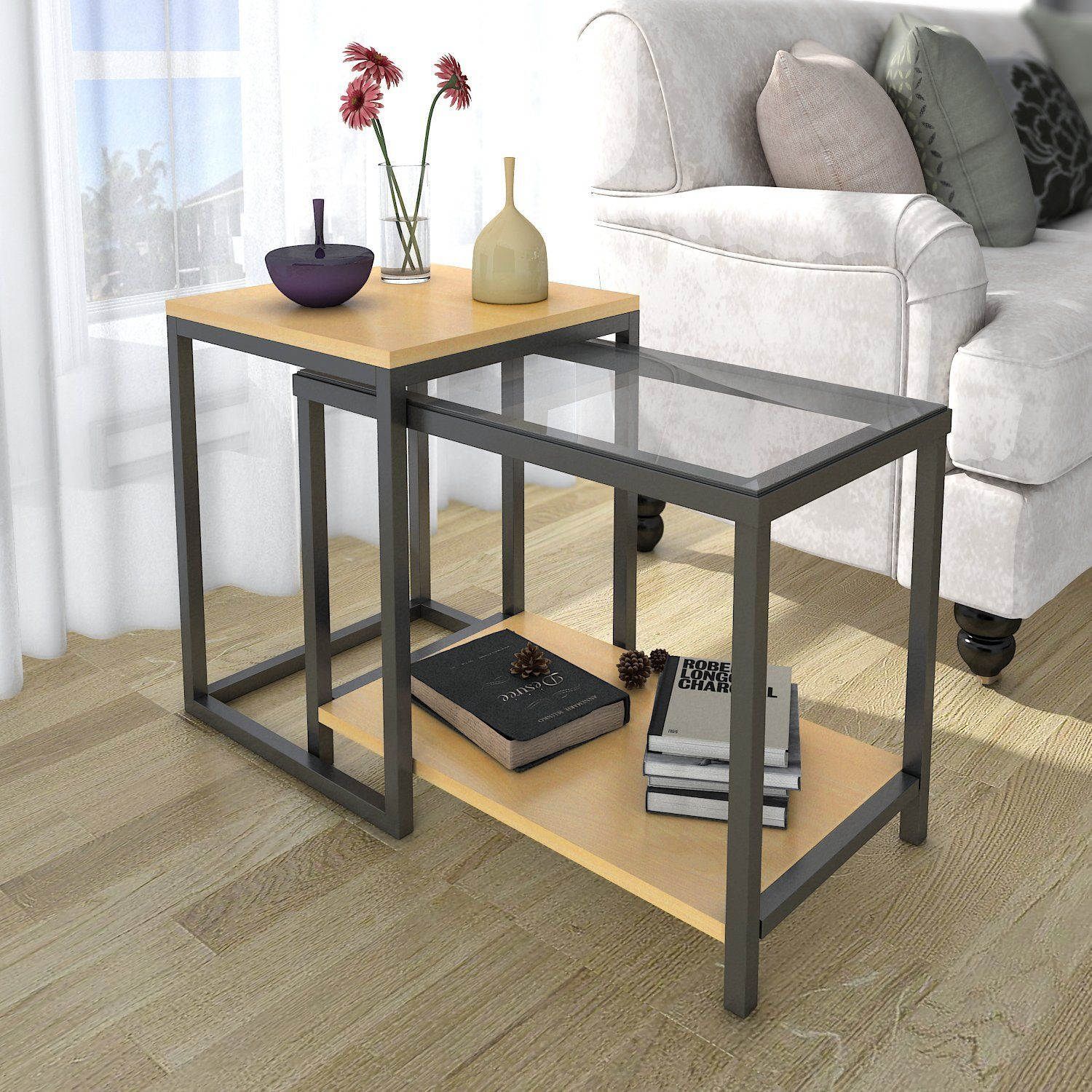 Amazon lifewit 2 piece end table nesting sofa side table set amazon lifewit 2 piece end table nesting sofa side table set watchthetrailerfo