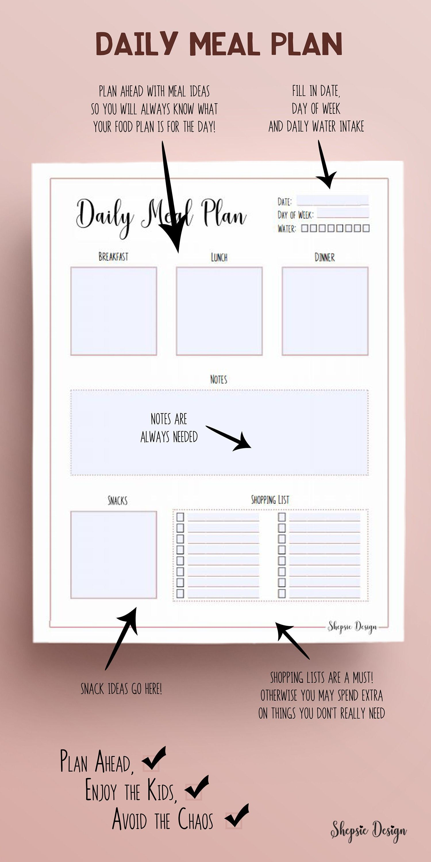 Daily Meal Plan Editable PDF Page for Mom Binder Food