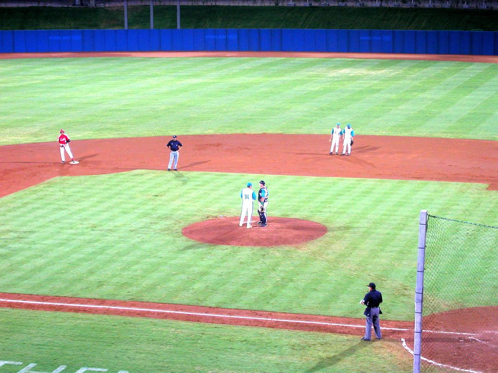 This is a picture of a baseball game in the 2004 olympics