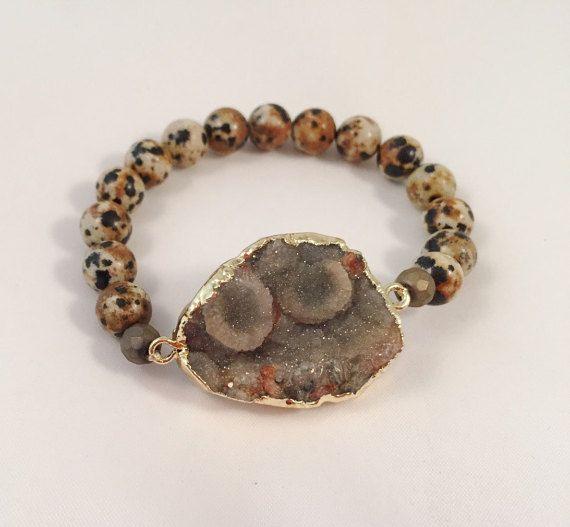 7cf708ed4f395 Druzy Stone Bracelet Druzy Stone Jasper Gemstone Bead Agate Druzy ...