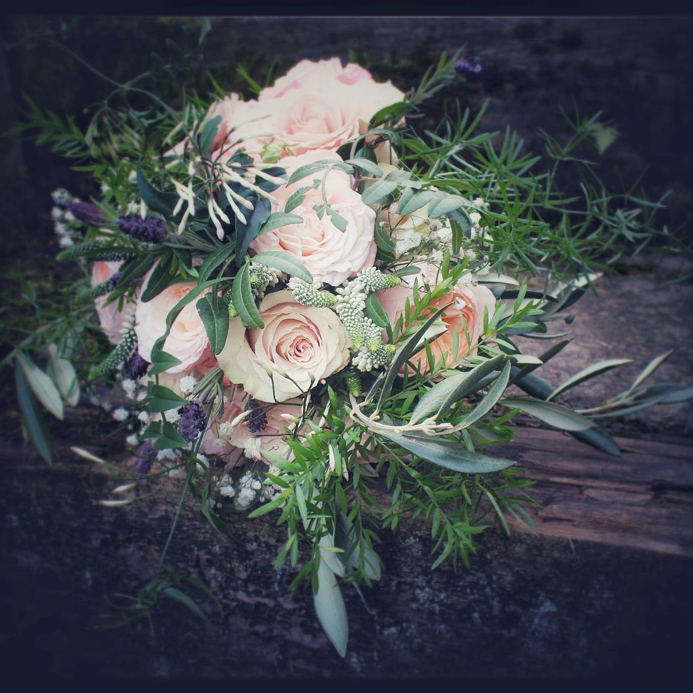 Flowers by shirley garden rose bouquets - Peach And Lavender Gathered Bouquet With Juliet Roses Quicksand Roses Lavender Veronica And