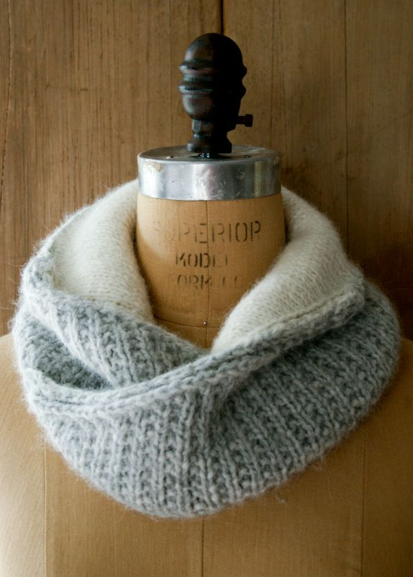Shawl Collar Cowl - The gray ribbed exterior transitions into a smooth, cream...