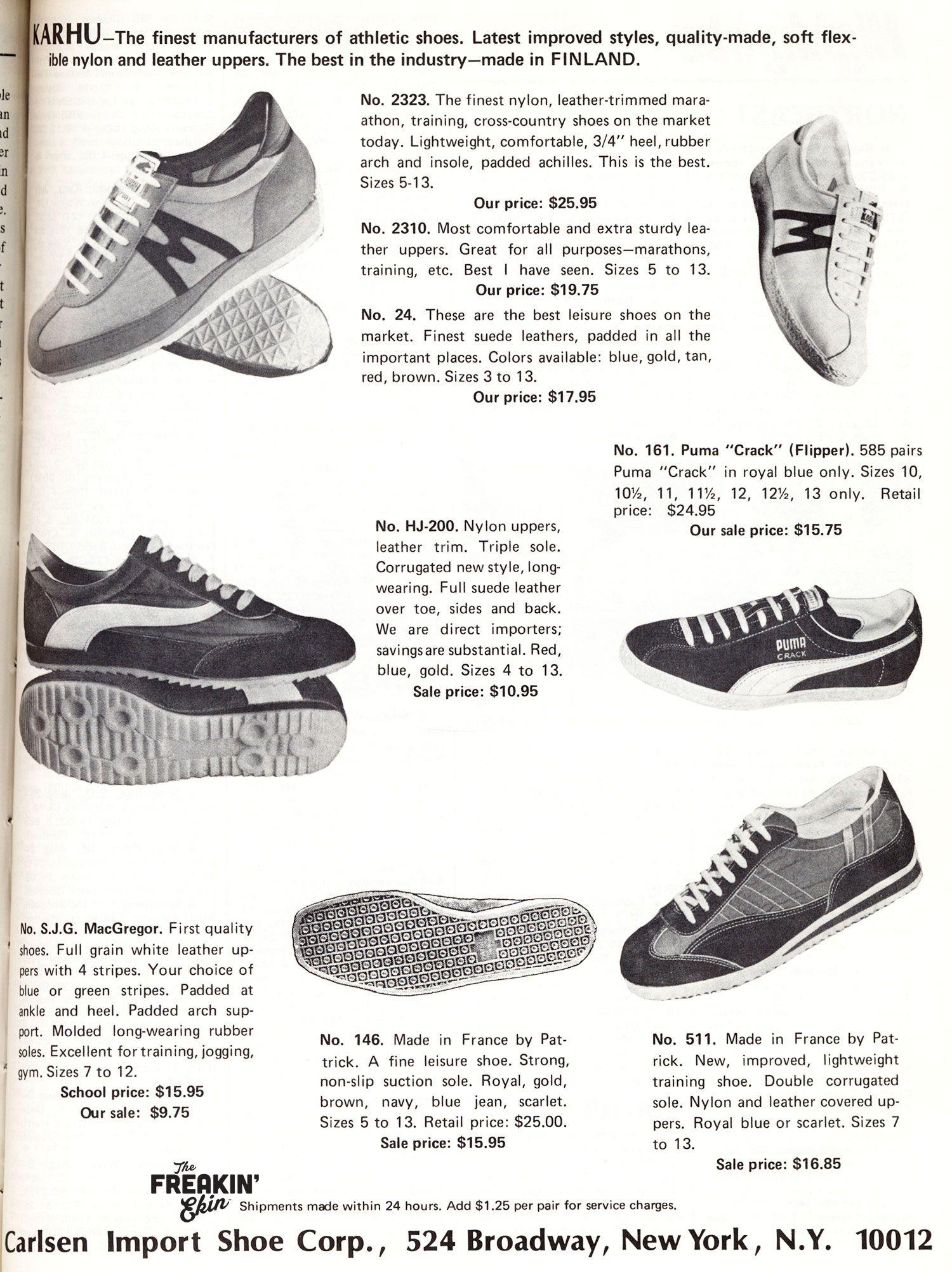 Various 1975 Karhu Puma Patrick vintage sneaker ad @ The