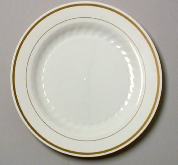 6 Gold Band Disposable China Look Plate Wna 150 Pieces By Wna & Masterpiece Plastic 10.25-inch Plates Ivory w/Gold Rim 12 Per Pack ...