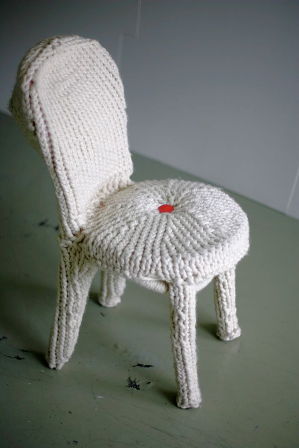 I made this hand knit wool chair with neon pink button a ...
