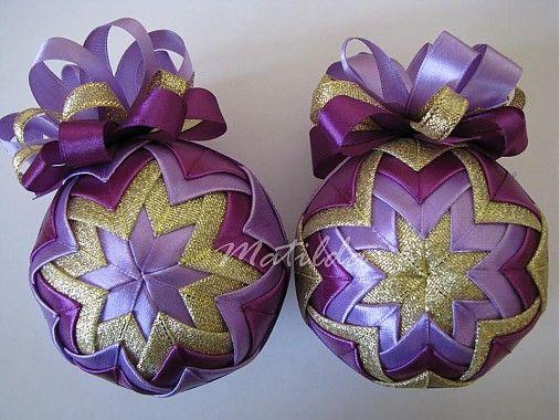Patchworková guľa - fialová a zlatá / Matilda - SAShE.sk - Handmade Dekorácie