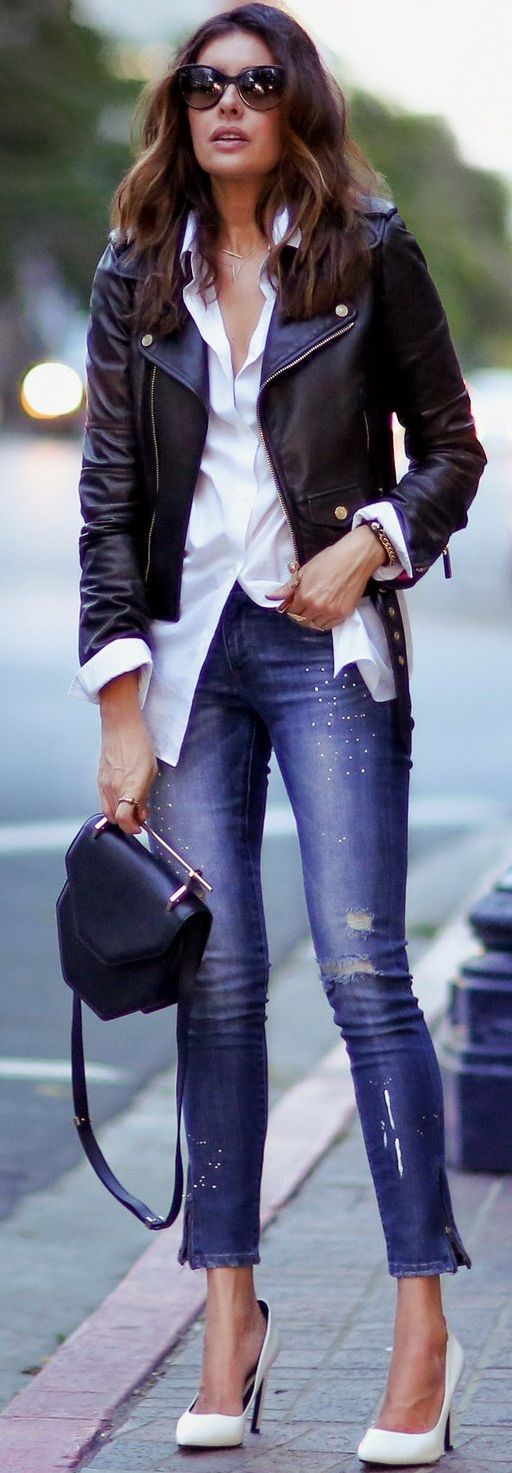 a3093fbea242 Fashioned C H I C Twist On A Classic Combo Moto Jacket And White Shirt Fall  Street Style Inspo
