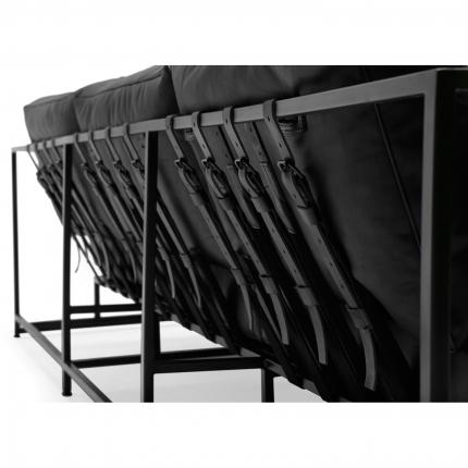 Inheritance Leather Sofa   Black Leather U0026 Blackened Steel Frame