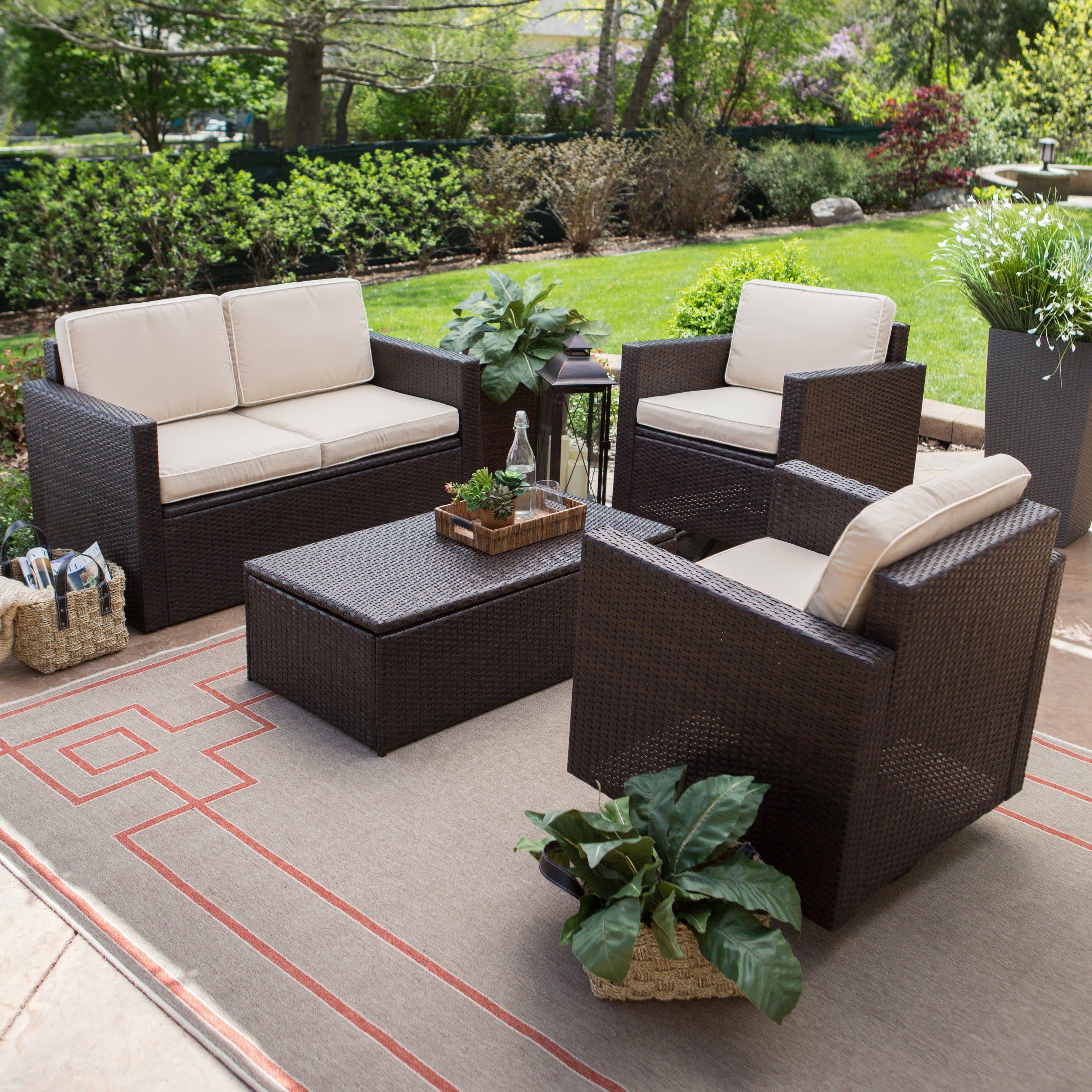 Coral Coast Berea Wicker 4 Piece Conversation Set With Patio Outdoor Conversation Wicker Furniture Sets S Terassenentwurf Außenterasse Outdoor Dekorationen