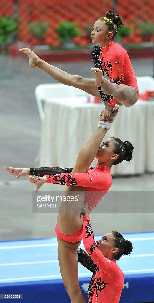 Russia's gymnasts compete in the acrobatic gymnastics women's group competition at the World Games in Kaohsiung on July 21, 2009. The World Games drew more than 4,700 athletes from across the globe to compete in 31 sports not included in the Olympics. AFP PHOTO/Sam YEH