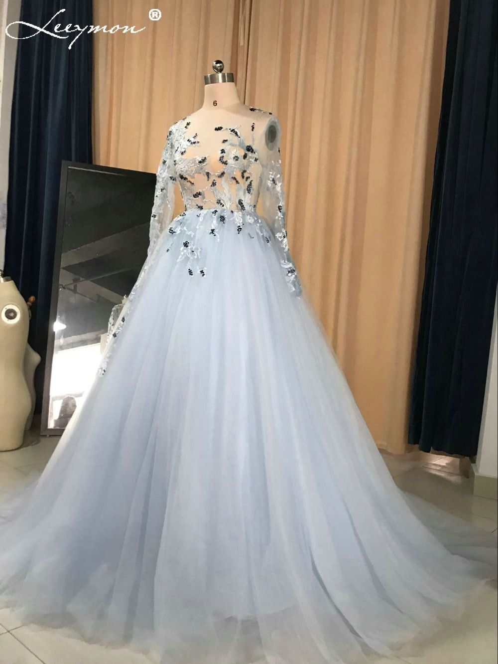 Click to buy ucuc real fashion sexy light blue tulle long lace wedding