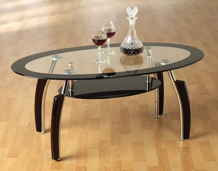 Elena Oval Black Border Glass Coffee Table With Undershelf