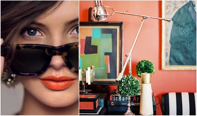 Chic sunglasses, bright lips, and a modern home.