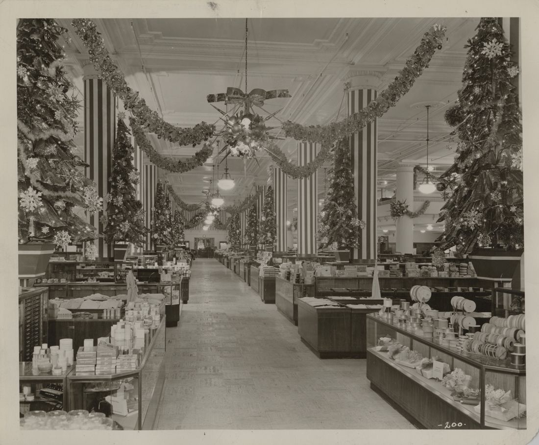 retro retail stores floor of horne s department decorated for 1948