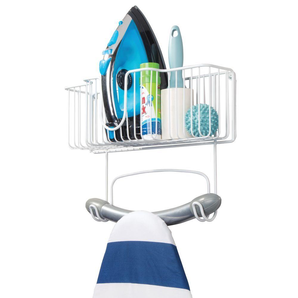 Wall Mount Iron Ironing Board Holder Storage Basket 16 4 Wide
