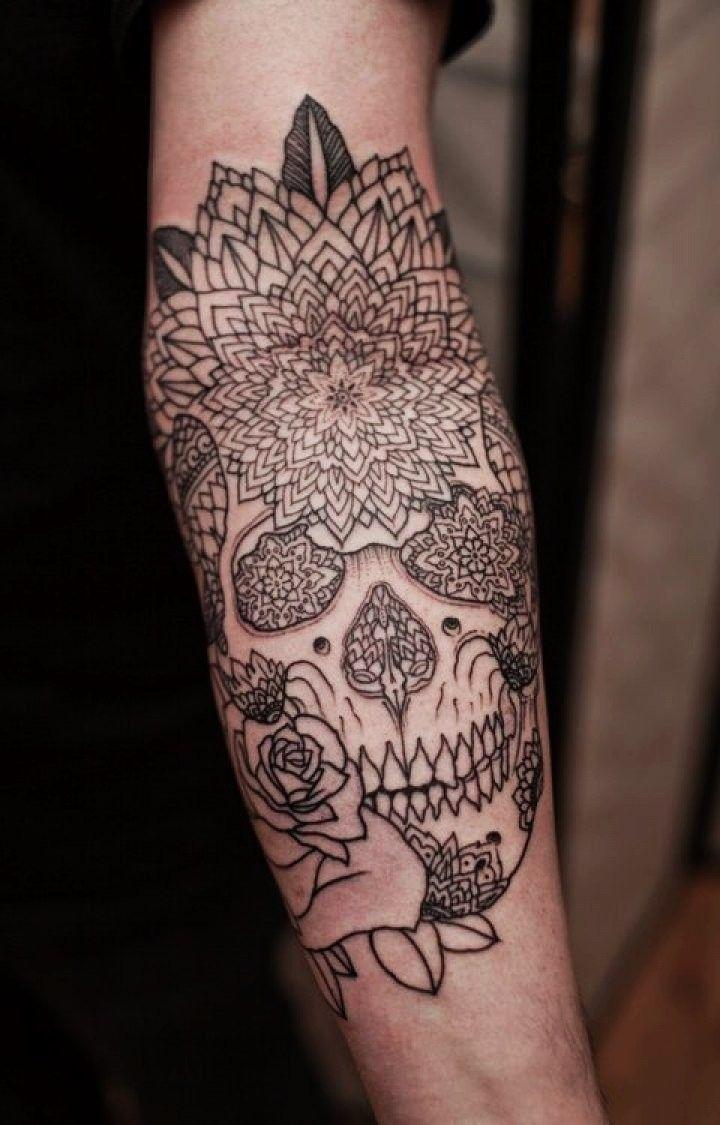 Beautiful Custom Skull Mandala Tattoo On Left Sleeve   Mandala Tattoos Tumblr For  Fashion Girls F68203 (720×1125)