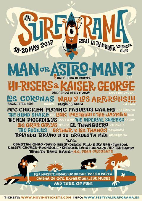 Surf O Rama Festival Poster For Surf Garage Rock Festival In Valencia Spain Vintage Tiki Festival Posters Concert Posters