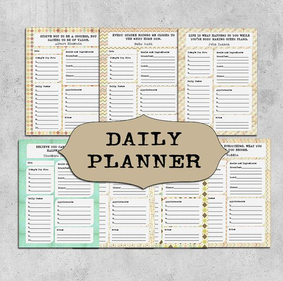 INSTANT DOWNLOAD Printable Daily Planner, Weekly Planner