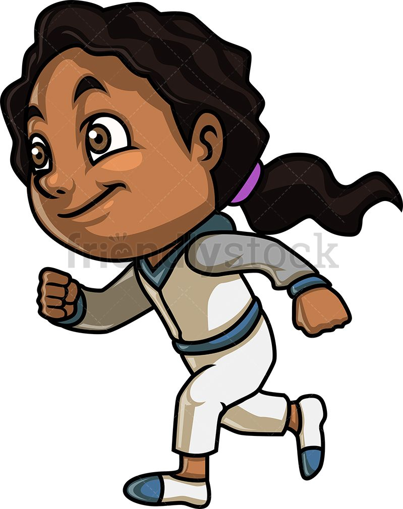Black Girl Running  Royalty-free stock vector illustration of an  African-American little girl with dark curly hair 4a5290ae5268