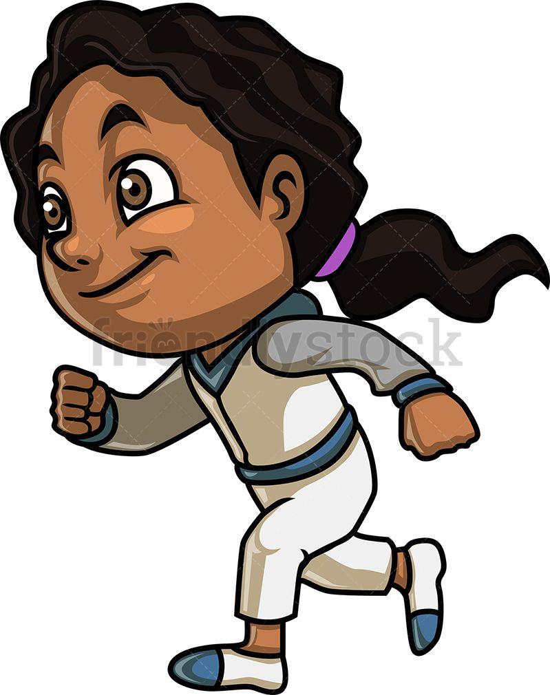 Black Girl Running In 2019  Kids Clipart  Black Girl Art -1835