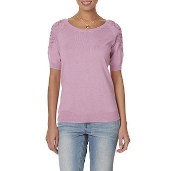 Jaclyn Smith Women's Lace Shoulder Sweater