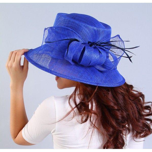Ivory Sinamay Turquoise Fuchsia Royal Blue Fascinator Hat For