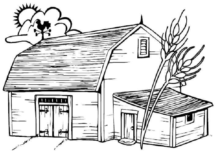 Barn on a farm. Free printable coloring and activity sheets. Click ...