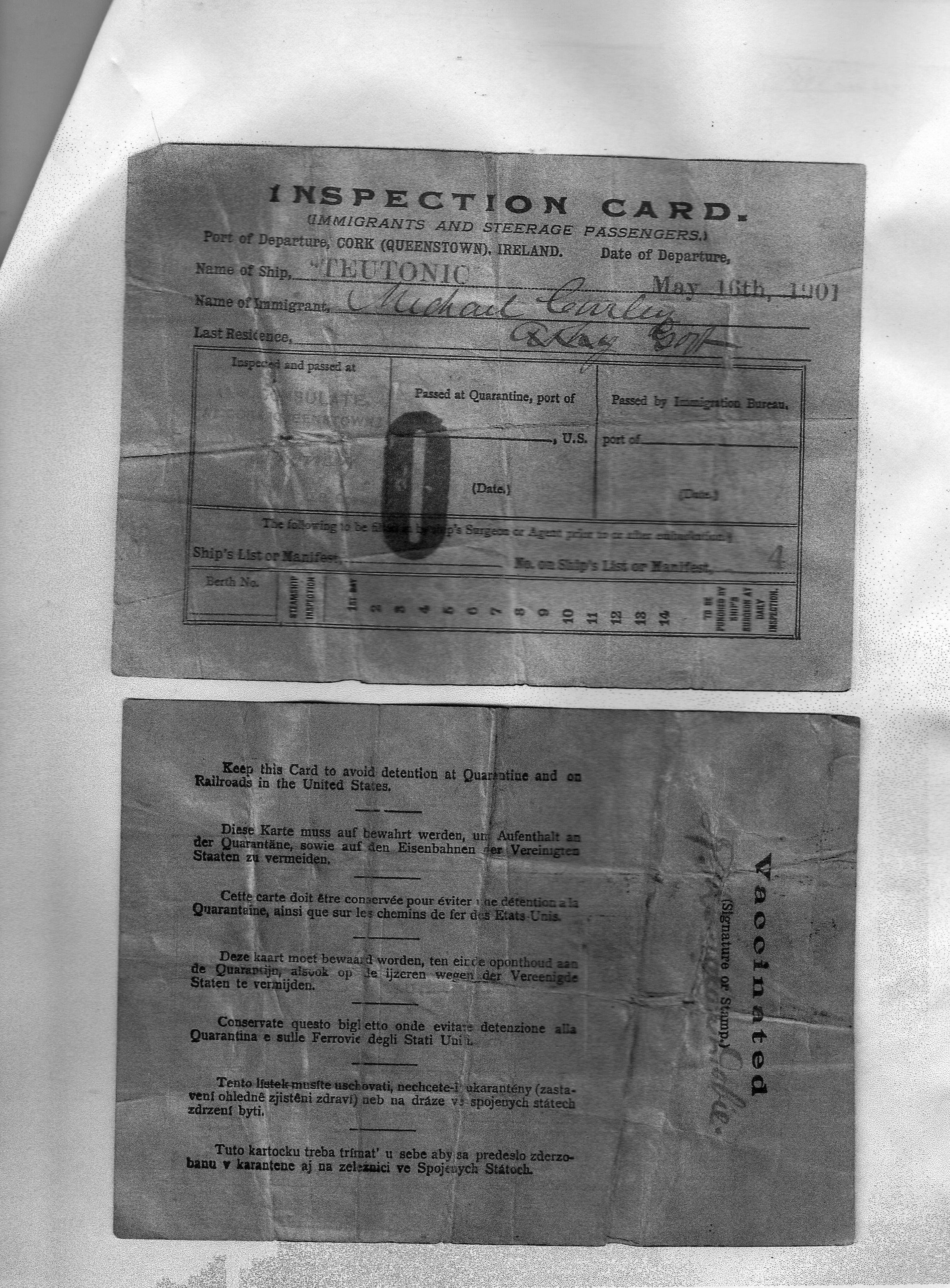 Inspection Card Ellis Island May
