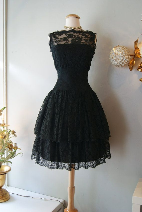297ccec7546 Vintage black lace two-tiered cocktail dress