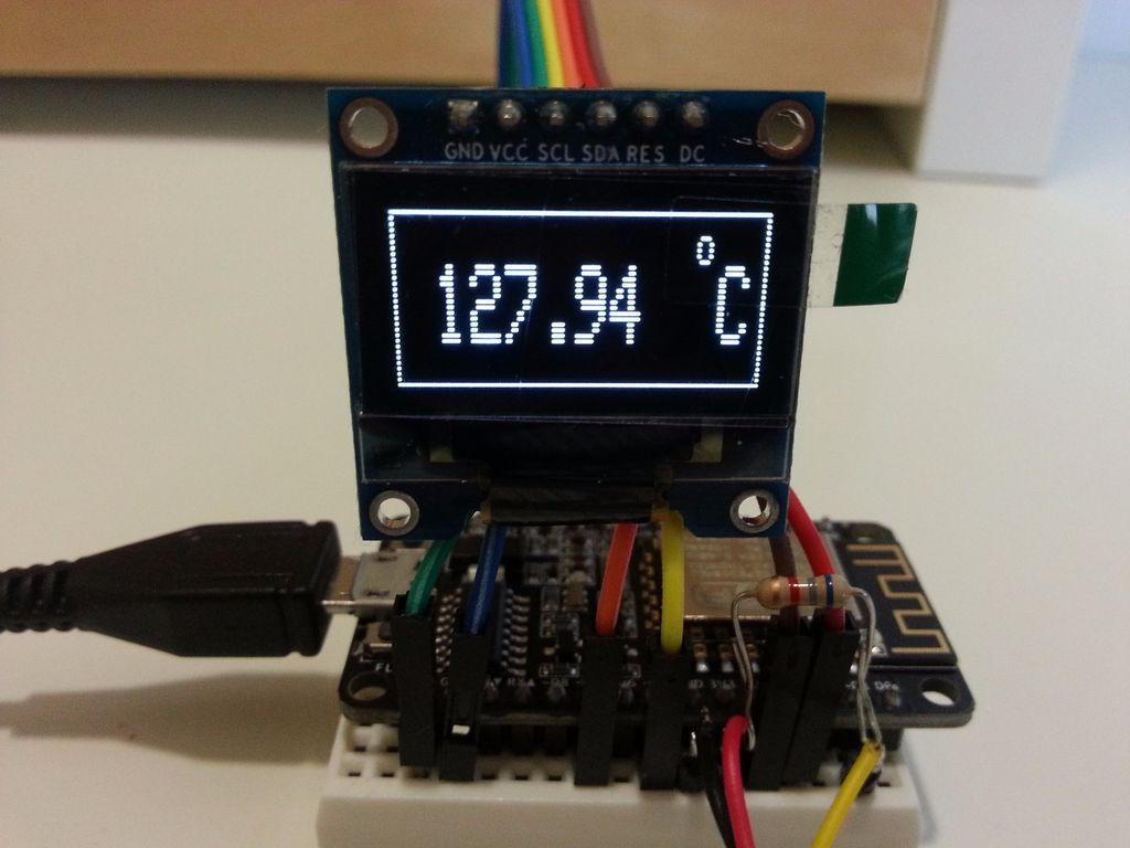 Digital Thermometer On Oled Display Using Esp8266 Esp 12e Nodemcu And Ds18b20 Temperature Sensor Digital Thermometer Sensor Digital