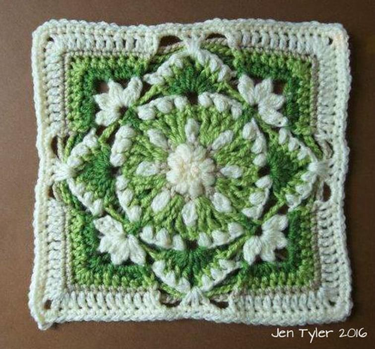 Free Pattern: Snowdrops and Butterflies Square   Craftsy.   crochet ...
