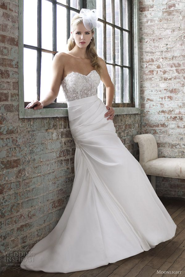 965d9e7271f moonlight wedding dresses spring 2013 strapless trumpet gown illusion  bodice j6260