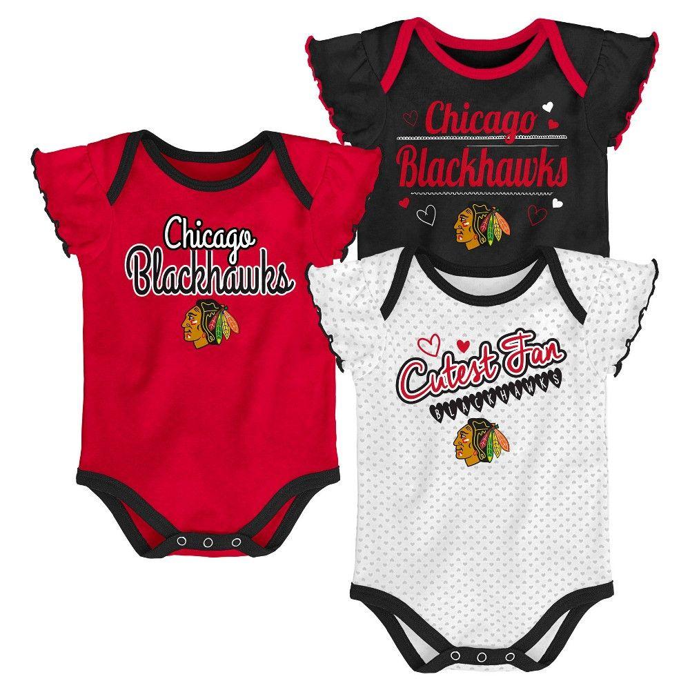 691f67fdb66 Chicago Blackhawks Girls' Winning Goal 3pk Body Suit Set 3-6 M, Multicolored