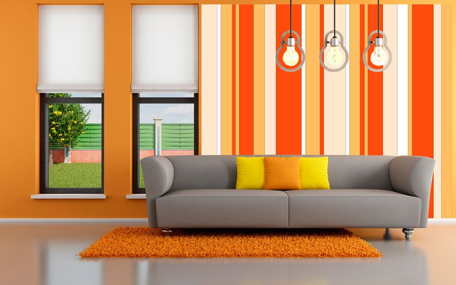 Rayas en tonos naranja paredes con dise o dise o pared - Diseno de pintura para interiores ...