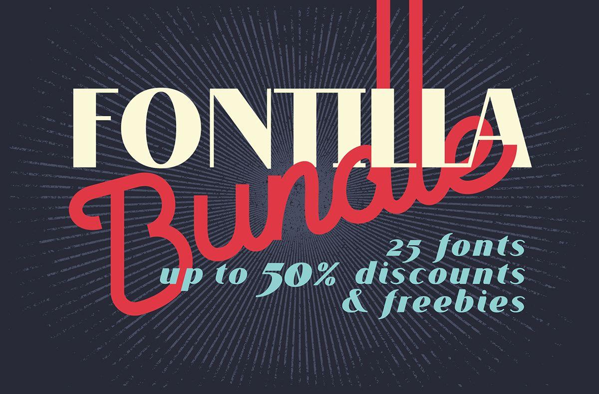 Fontilla Bundle 25 Fonts Freebies On Behance Fonts Neon Signs Bundles