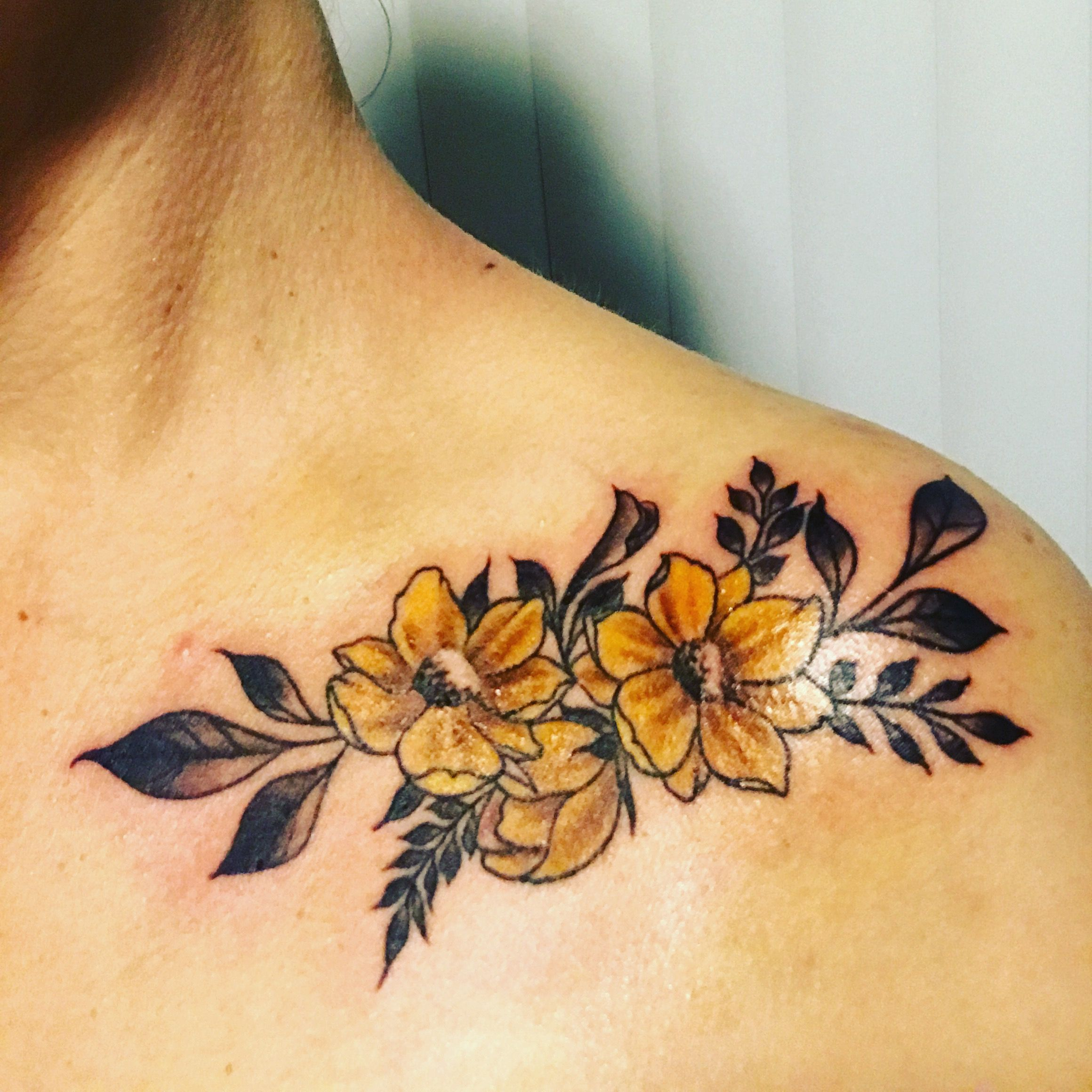 Buttercup Tattoo On My Collarbone For My Fiance He Has Called Me Buttercup For Years Tattoo Flower Buttercup Tattoo Tattoos Sunflower Tattoo Shoulder