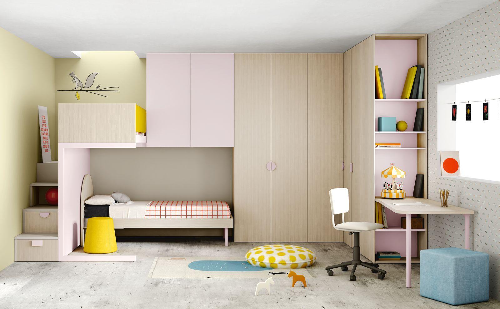 Camerette moderne soppalco Habitaciones infantiles