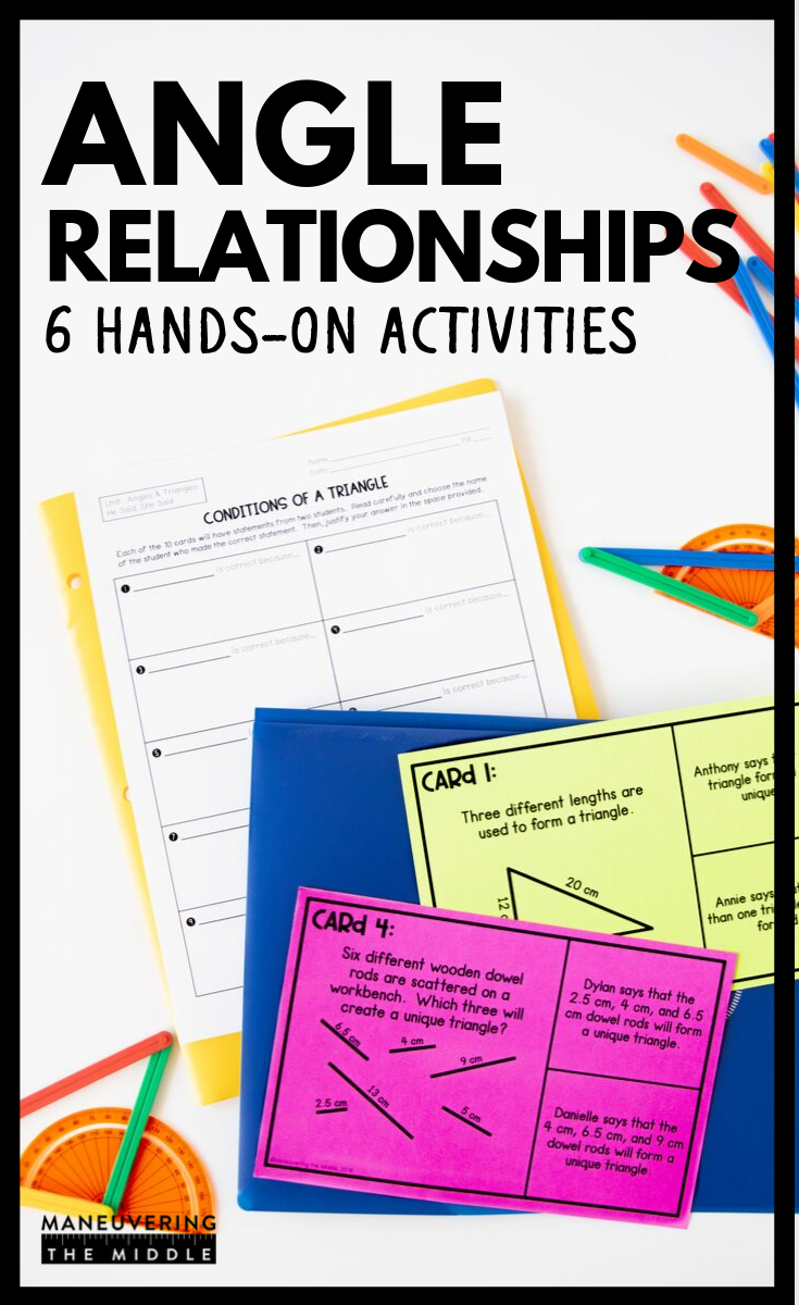 Angle Relationships Activity Bundle 7th Grade