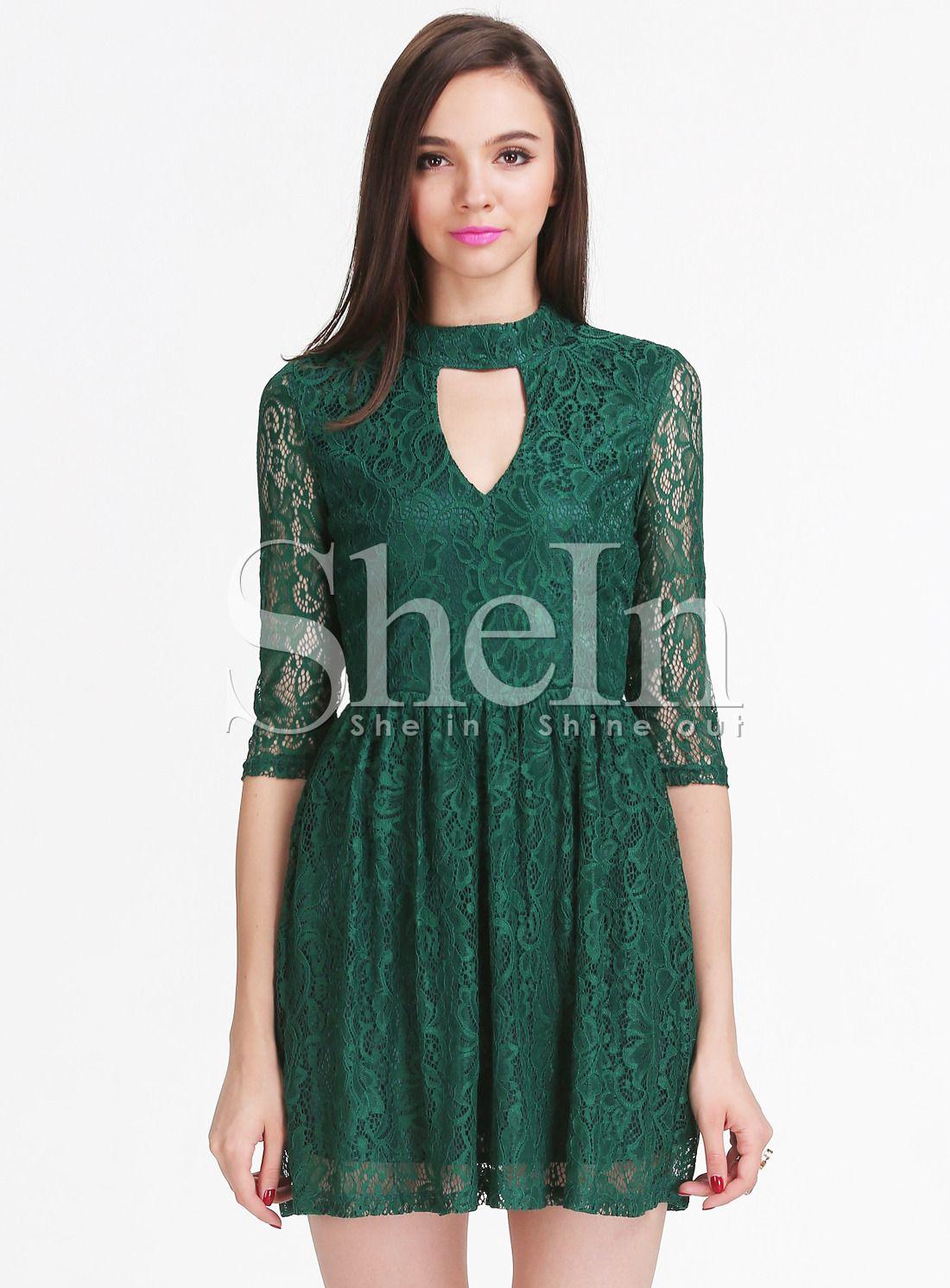 Green long sleeve cocktail dress  Green Long Sleeve Hollow Lace Pleated Dress   Fashion Lovelies
