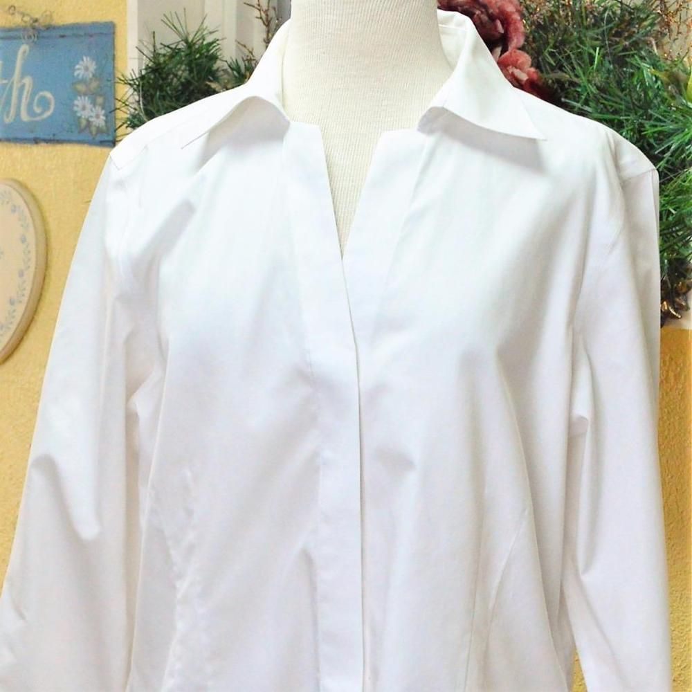 Foxcroft Women 16 Blouse Top Fitted Fit White Cotton Button Front Ls