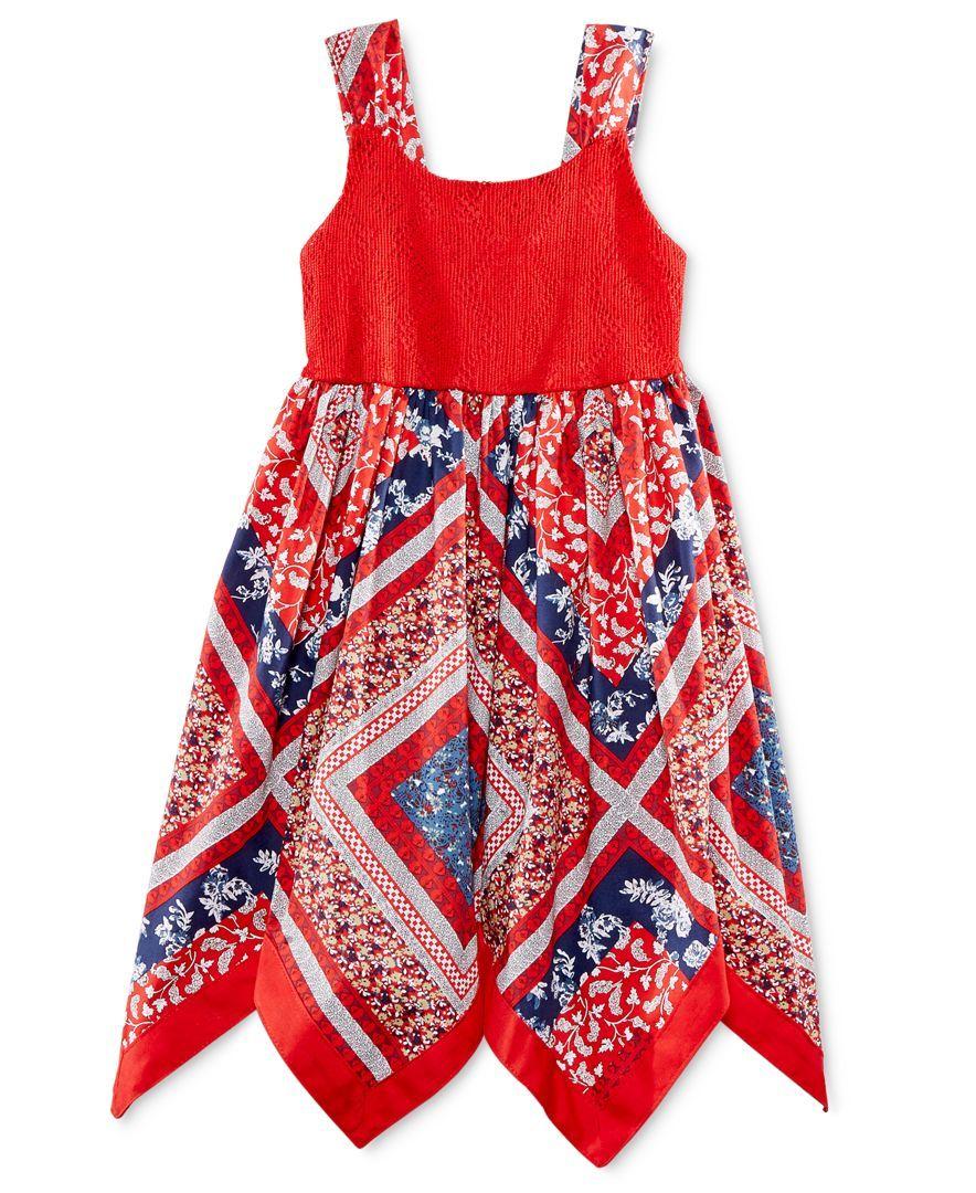 Blueberi Boulevard Little Girls' Handkerchief-Hem Dress