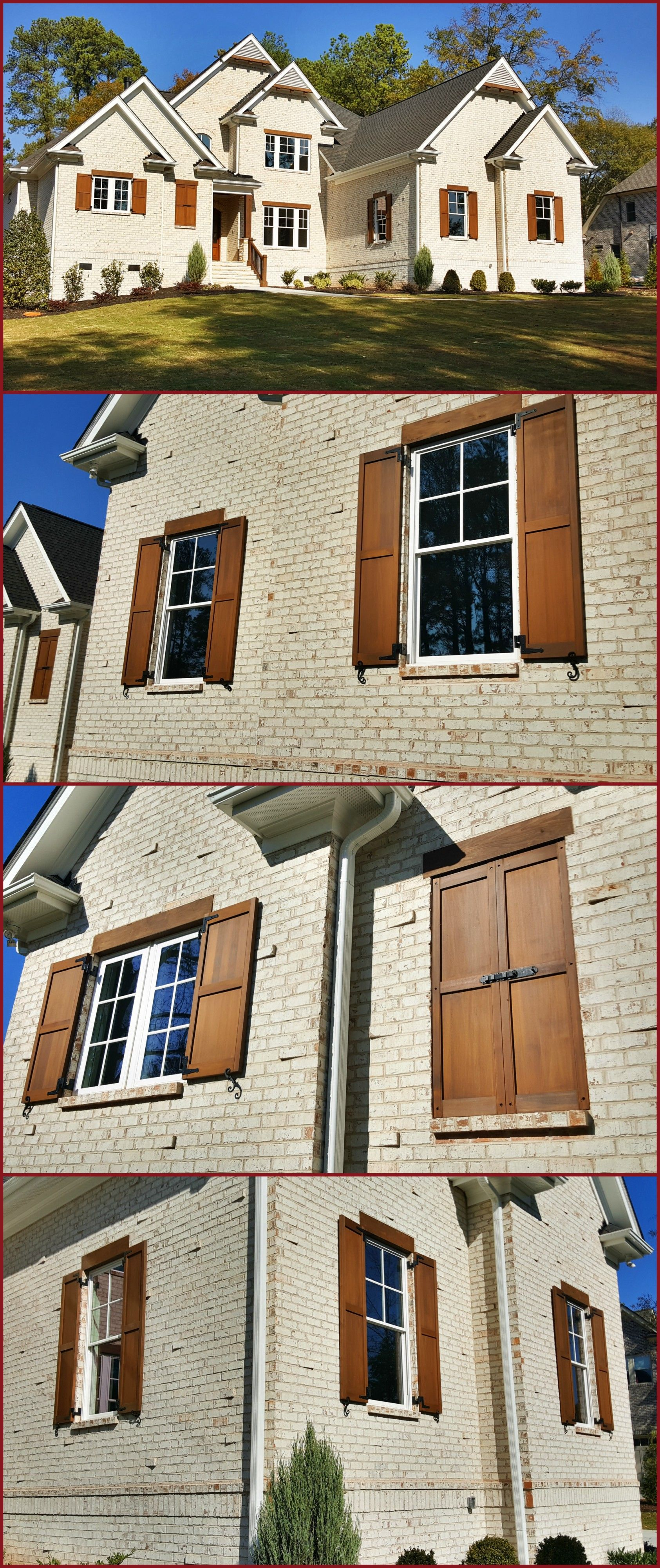 Custom Built And Stained Exterior Cedar Shutters On White Brick House Exterior Shutters