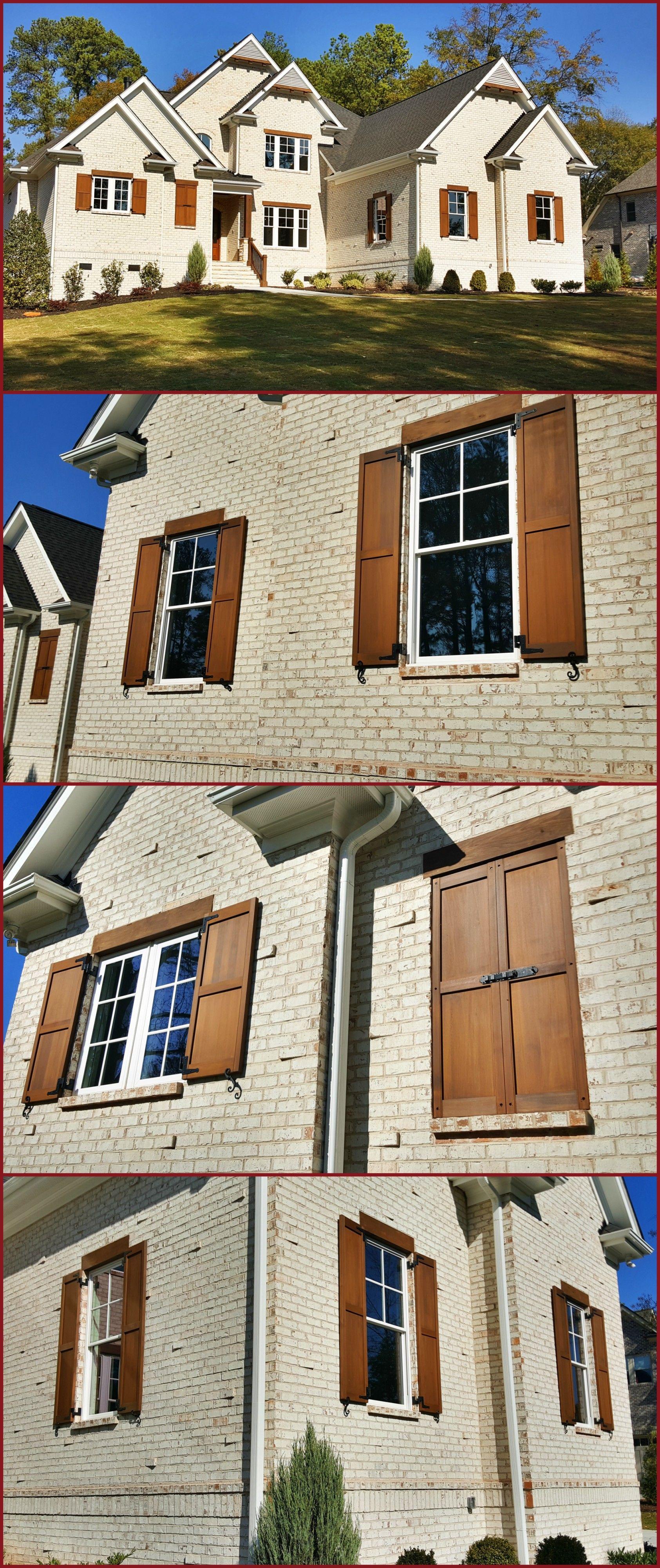 White House With Cedar Shutters : white, house, cedar, shutters, Custom, Built, Stained, Exterior, Cedar, Shutters, White, Brick, House, House,, Paint, Exterior,