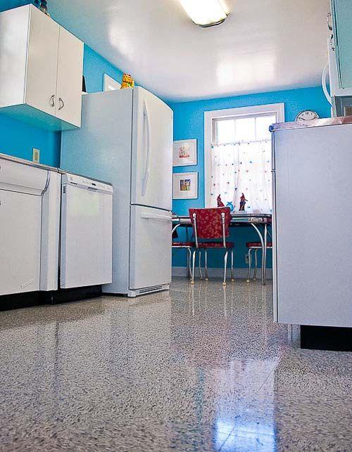 Elegant Kitchen Flooring With Retro Appeal: Azrock VL 130 Classic Blue Gray Vinyl  Tile
