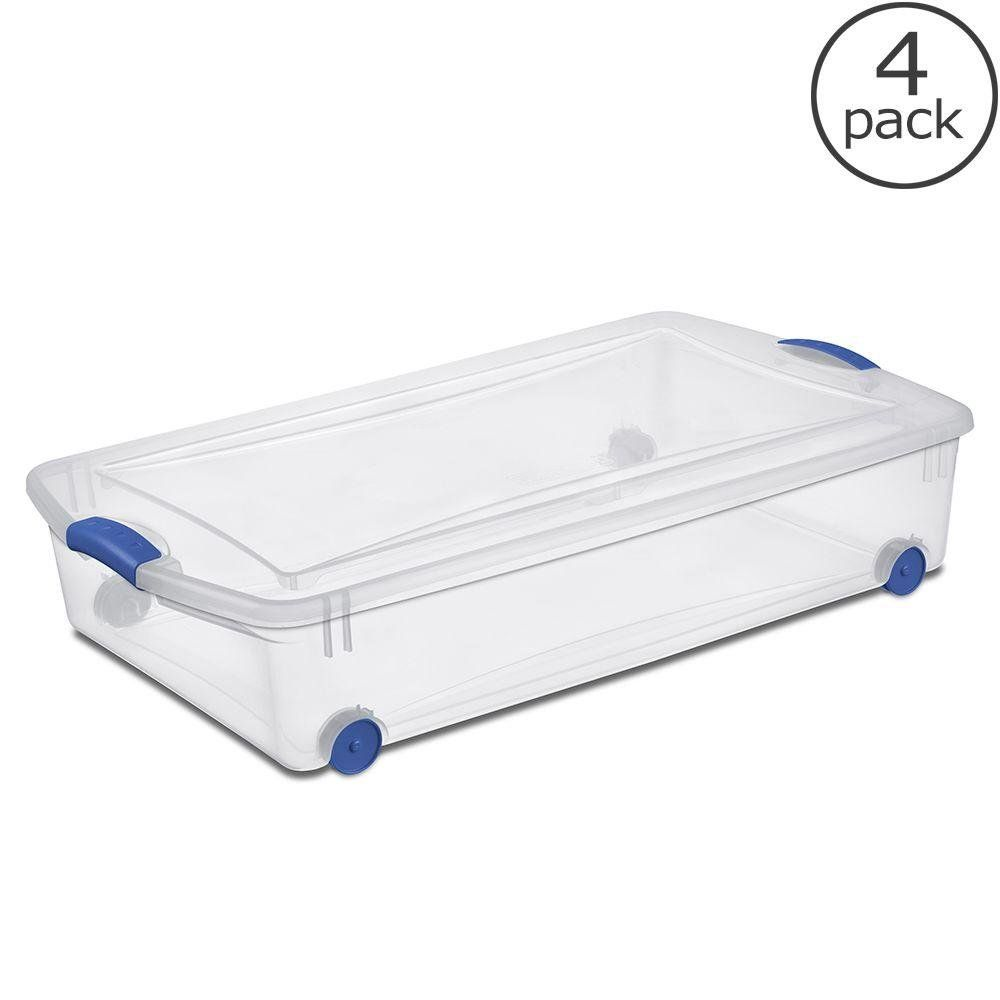 Sterilite Under Bed Storage Fascinating Sterilite Plastic Underbed Storage Stackable Storage Bins With Blue Design Inspiration