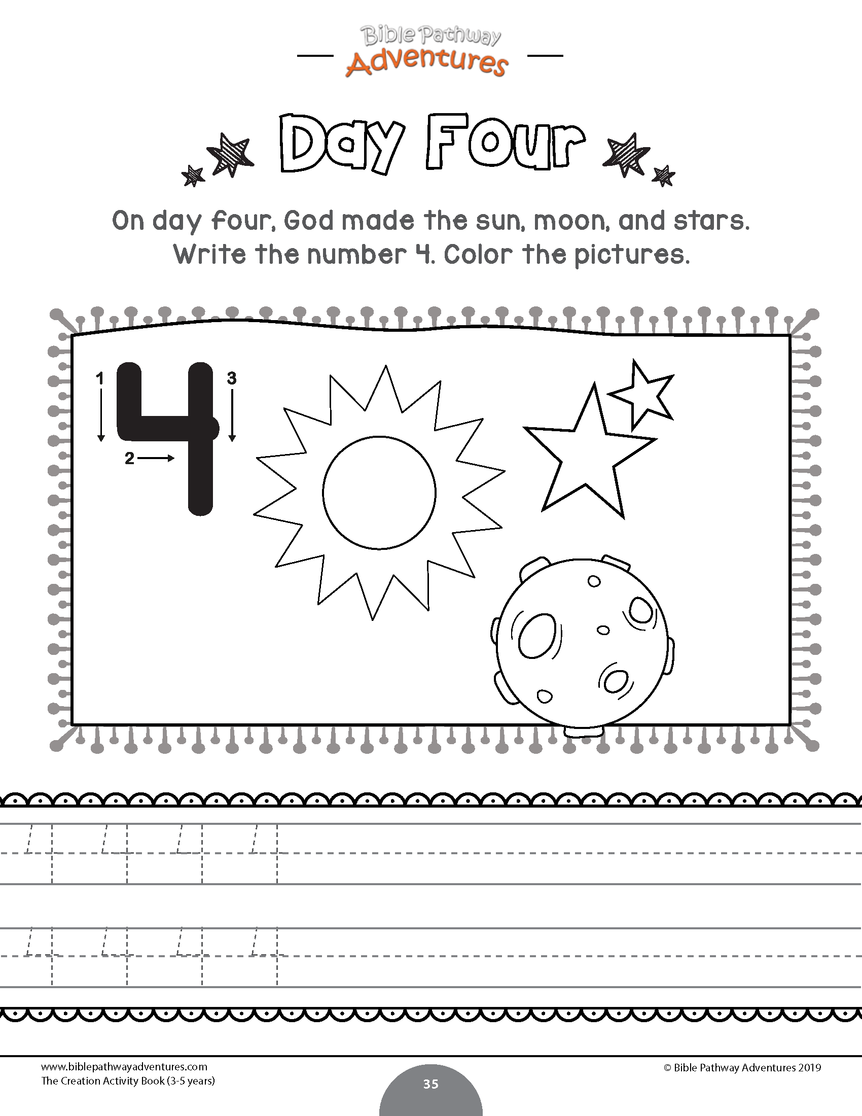Day Four Of The Creation Worksheet The Creation Activity Book For Kids Ages 3 5 Printa Creation Activities Bible Lessons For Kids Bible Activities For Kids [ 2200 x 1700 Pixel ]